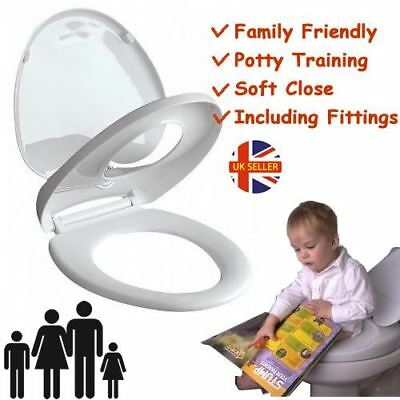 Family Friendly Soft Close Child Potty Training Toilet Seat Top/Bottom Hinges M