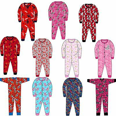 Kids Girls Boys Jersey All in One Character Childrens Pyjamas 3-10 Years