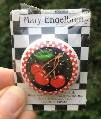 Mary Englebreit Drawer Knob Pull Ceramic Cherry Cherries Checks New In Package