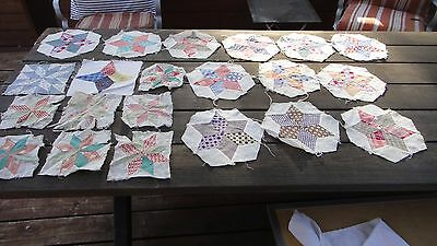 """Vintage Hand Pieced quilt blocks all star patterns 21 in all, muslin 6"""" to 8"""""""