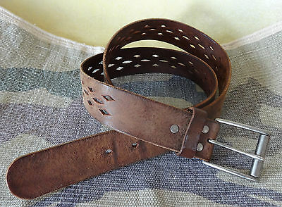 Levis leather belt brown mens or womens diamond cutout pattern used size 38