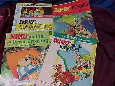 4-1980s ASTERIX French ADVENTURE COMICS English Text IN SPAIN-CLEOPATRA etc