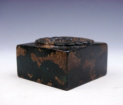 Old Nephrite Jade Stone Carved Seal Paperweight Sculpture Pi-Xiu Coins #06061736