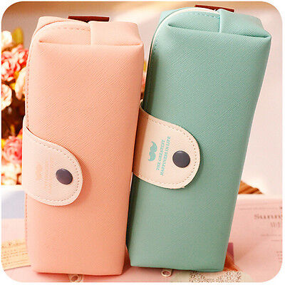 Pure Color Kawaii Leather Pencil Case School Pencil Bag For Girls Large Capacity