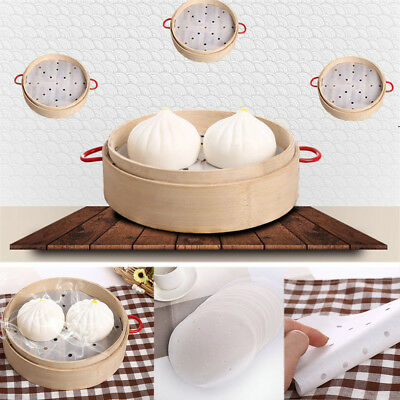 50Pcs Round Steam Bread Dim Sum Paper White Non-Stick Bamboo Steamer Mat 6~10''