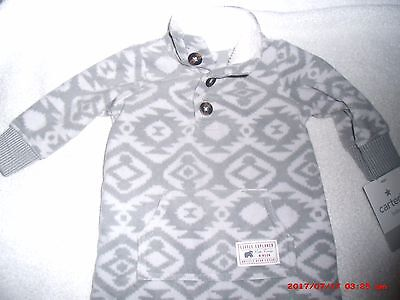 Carter's Baby Boy Sleepe - Size 3 Months - Footless -Soft - Grey and White - NWT