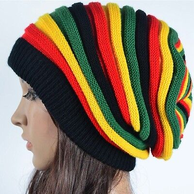 Unisex Men Women Top Rasta Hats Slouchy Baggy BEANIE Ski Winter Cap Multicolour