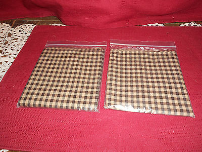 "Longaberger 2 ""KHAKI CHECK""  16"" FABRIC SQUARES / NAPKINS!   NEW!   BIN!  SALE!"