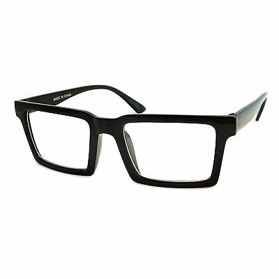 RETRO Trendy Geometric Square Frame Men Women Clear Lens Eye Glasses BLACK