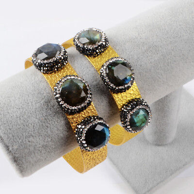 3Pcs Paved CZ Natural Labradorite Faceted Cuff Open Bangle Gold Plated BJA704