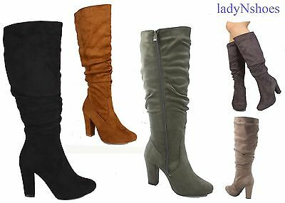 NEW Women's Faux Suede Chunky Heel Zip Mid-Calf Knee High Boots Size 6 - 10