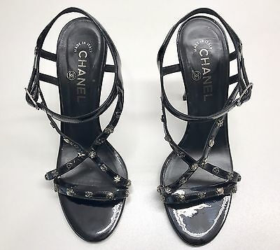 Authentic CHANEL Black Strappy Stiletto  Shoes + Logo Excellent Preloved S 39.5