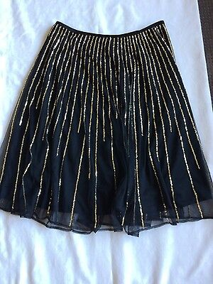 Ladies Contony Sequin Skirt Size 12 Black and Gold