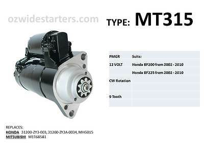Honda starter motor suits BF200, BF225, BF250 from 2002 - 2014