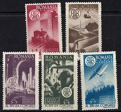 Romania 1947 Congress of the Association of Engineers Complete set of Stamps MNH