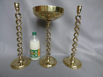 A Nice Pair Of Tall Brass Open Barley Twist Candlesticks With Matching Vase