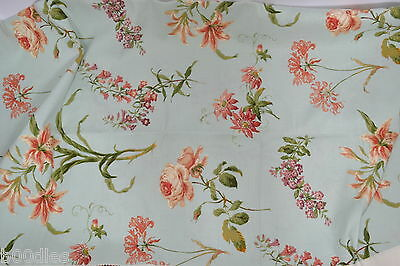 COLEFAX & FOWLER DELFT TULIPS DUCK EGG BLUE COTTON MATERIAL x 2 REMNANTS