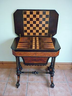 Superb Early Victorian Inlaid Games/ Work Table Circa 1850.