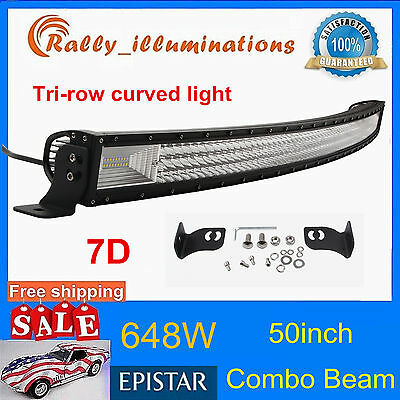 7D Lens Tri-Row 50Inch 648W Curved Led Light Driving Offroad Combo Truck Pk 52""