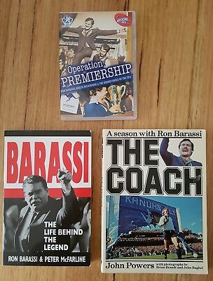 Vintage Vfl Afl Ron Barassi Operation Premiership Dvd, The Coach Books Bulk Lot