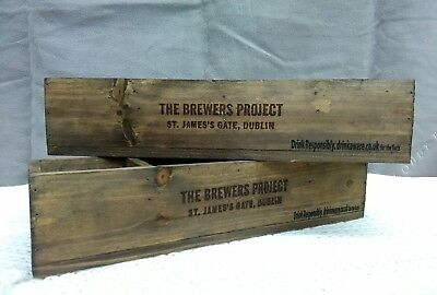 2 x Rustic Wooden Guinness Brewers Project Caddy / Condiment / Herb boxes