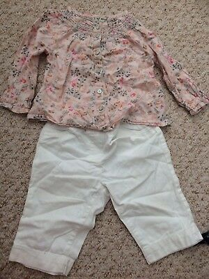 9-12 Months Next Outfit Baby Girl Trousers And Blouse Floral