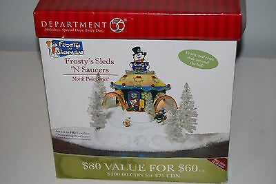 Dept 56 North Pole Series Frosty's Sleds 'N Saucers NEW!