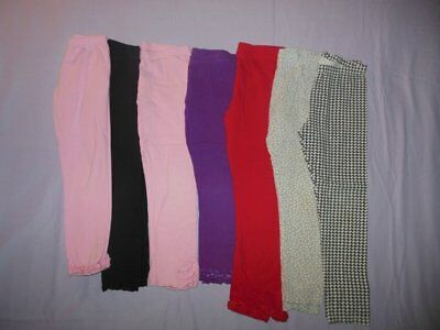 Girls Kids Headquarters Leggings Lot Size 8 7 Pair Pink,Purple,Black,Red
