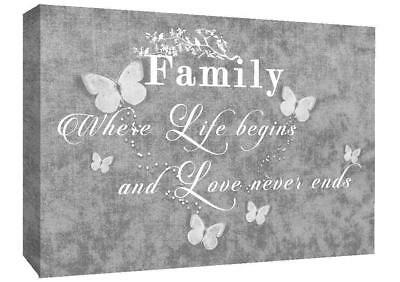 FAMILY QUOTE - Life - Grey Print Art Pictures Canvas Wall Art Prints Unframed