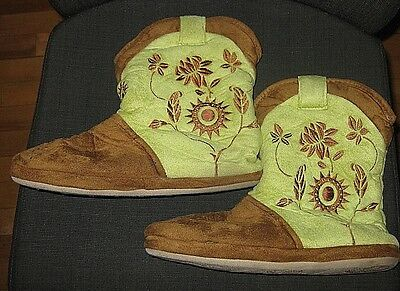 Cicciabella Green Brown Cowgirl Western Slippers Booties Women's Size 9 9.5