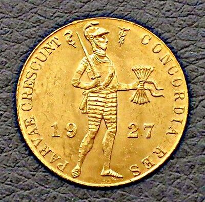 """1927 Netherlands Ducat- Gold Coin. """"MS""""   KM#: 83.1a"""