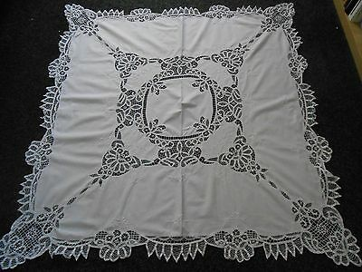 Beautiful Pure White Ribbon Work / Embroidered Tablecloth