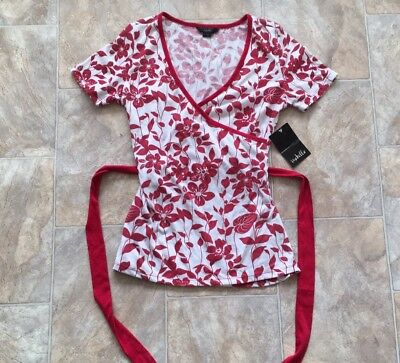 """ISABELLA """"Red & White"""" Floral Crossover Bust Women's Fashion Top (Size M) *NEW*"""