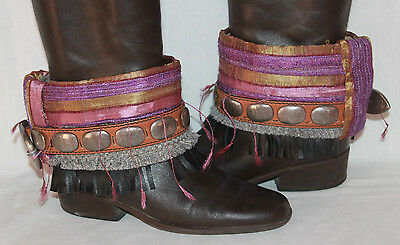 Boho Accents Festival Upcycle Boot Accent Covers Leather Fringe Silver Accent