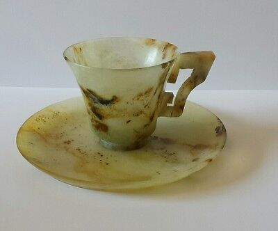 Vintage Chinese Carved Jade Tea Cup & Saucer Set