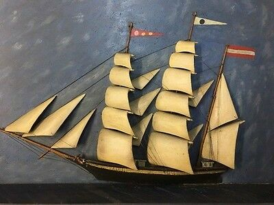 Antique 3-Masted Clipper Ship Diorama Folk Art 3-D in Shadow Box Frame