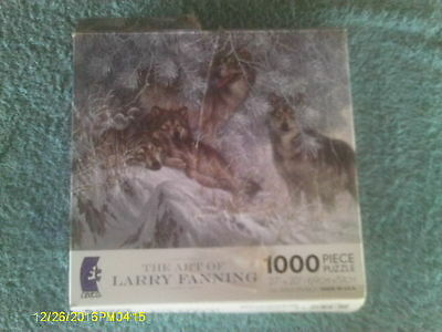"""""""Crystal Morning Grey Wolves"""" 1000 Piece Puzzle 4 Wolves in Winter Snow Scene"""