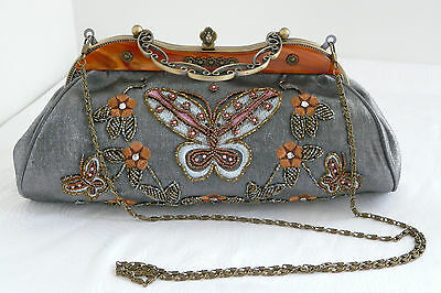 Vintage Victorian Style Satin Beaded Evening Purse Bag