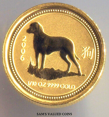 2006 Australian 15 Dollars Lunar Year of the Dog Gold Coin - 1/10 OZ  .9999 Gold