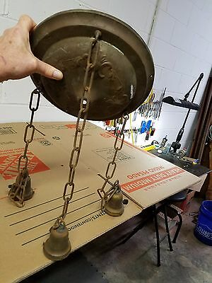 Antique Three Light Chain Shower brass fixture for restoration