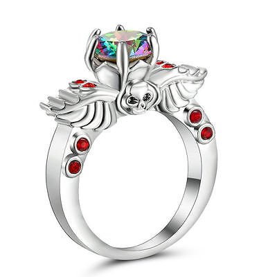 GOTH rainbow SILVER SKULL RING SIZE 8 REPLICA GOTHIC ruby WINGS ALCHEMY TOPAZ