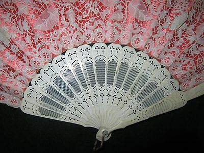 Antique c19th French Fan Carved & Pierced with Brussels Hand Made Lace Leaf