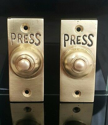 """Pair of Antique Brass """"Press"""" Door Bell/Lift Call Button. Architectural Salvage"""