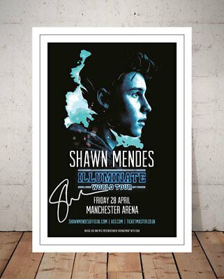 Shawn Mendes Illuminate 2017 Manchester Concert Flyer Autograph Signed Print