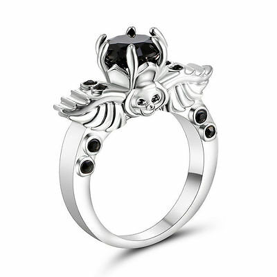 Goth Black Onyx Evil Silver Skull Ring 6 Replica Gothic Wings Alchemy Fashion