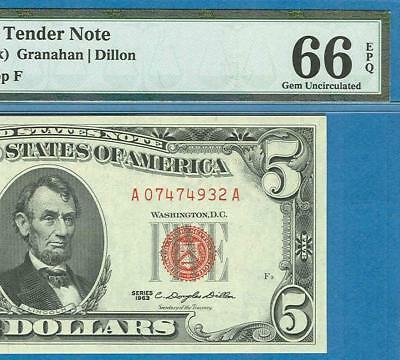 $5.00 1963 Legal Tender Red  Seal United States Note Pmg Gem New 66Epq