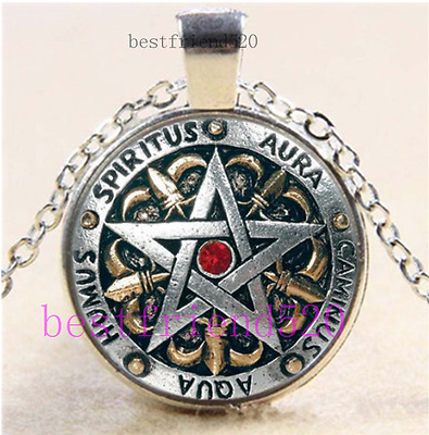 SILVER PENTAGRAM STAR WICCA MAGIC PAGAN SYMBOL NEW  GOTH glass necklace pendant