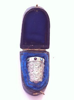 Antique 19c thimble possibly silver gem set ruby turquoise paste ? cased