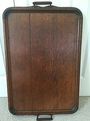 Large Antique Old Wooden Butlers Serving Tray