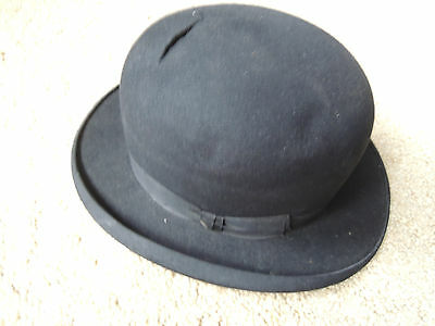 ANTIQUE Bowler HAT - black - small size - no mfg. or country or origin